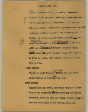 Primary view of object titled '[News Script: Election bet]'.