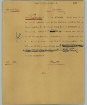 Primary view of object titled '[News Script: Senator Yarborough]'.