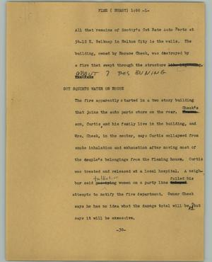 Primary view of object titled '[News Script: Fire (Hurst)]'.