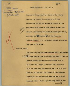 Primary view of object titled '[News Script: Theft changes]'.