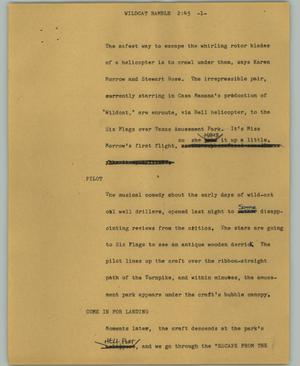 Primary view of object titled '[News Script: Wildcat ramble]'.