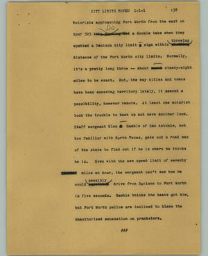 Primary view of object titled '[News Script: City limits moved]'.