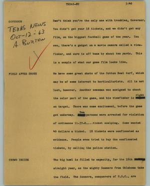 Primary view of object titled '[News Script: Texas-OU]'.