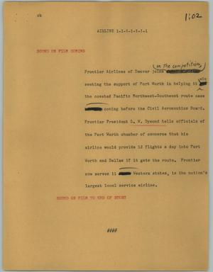 Primary view of object titled '[News Script: Airline]'.