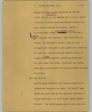 Primary view of object titled '[News Script: Sanity hearings]'.