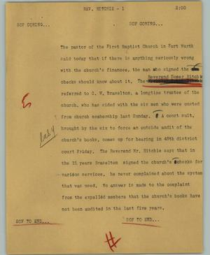Primary view of object titled '[News Script: Rev. Ritchie]'.