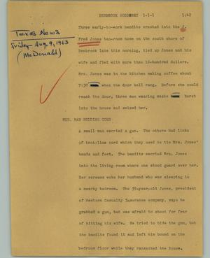 Primary view of object titled '[News Script: Benbrook robbery]'.