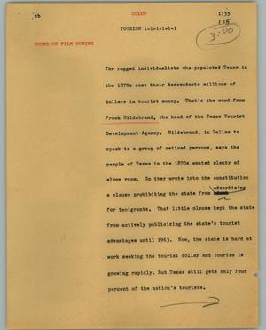 Primary view of object titled '[News Script: Tourism]'.
