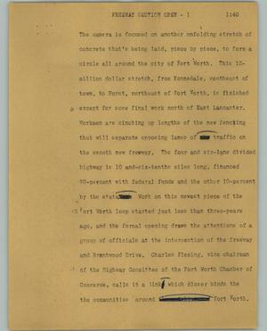 Primary view of object titled '[News Script: Freeway section open]'.