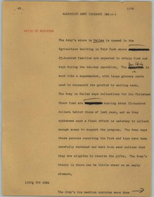 Primary view of object titled '[News Script: Salvation Army (Dallas)]'.