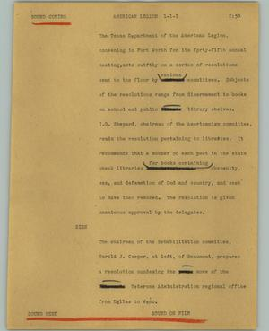 Primary view of object titled '[News Script: American Legion]'.