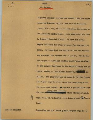 Primary view of object titled '[News Script: Store]'.