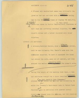 Primary view of object titled '[News Script: Accidents]'.