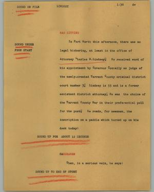 Primary view of object titled '[News Script: Lindsey]'.