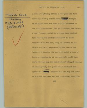Primary view of object titled '[News Script: Boy hit by lightning]'.