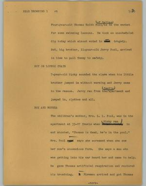Primary view of object titled '[News Script: Near drowning]'.