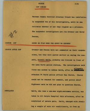 Primary view of object titled '[News Script: Crouch]'.