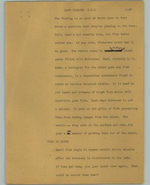Primary view of object titled '[News Script: Lake Cleaned]'.