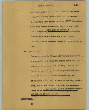 Primary view of object titled '[News Script: Couple arrested]'.