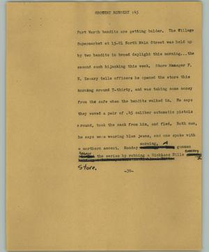 Primary view of object titled '[News Script: Grocery robbery]'.