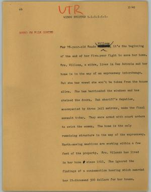 Primary view of object titled '[News Script: Widow evicted]'.
