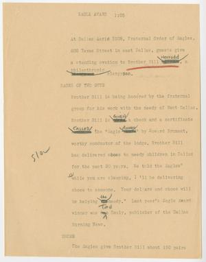 Primary view of object titled '[News Script: Eagle award]'.