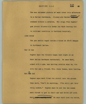 Primary view of object titled '[News Script: Shoot out]'.