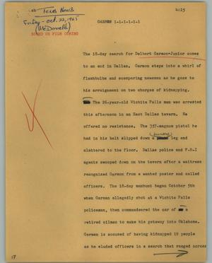 Primary view of object titled '[News Script: Garmon]'.
