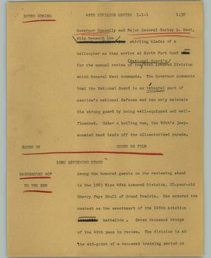 Primary view of object titled '[News Script: 49th Division review]'.