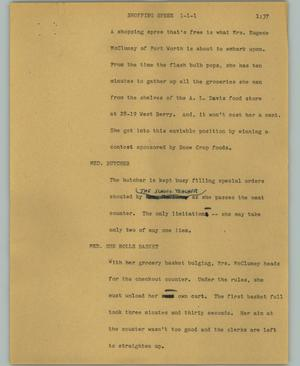 Primary view of object titled '[News Script: Shopping spree]'.