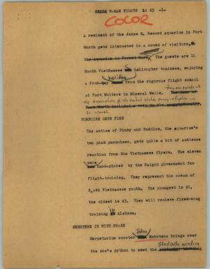 Primary view of object titled '[News Script: V-Nam pilots]'.