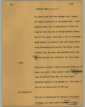 Primary view of object titled '[News Script: Mountain Dew]'.