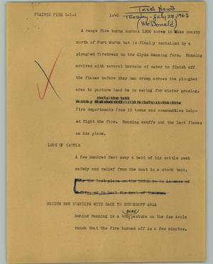 Primary view of object titled '[News Script: Prairie fire]'.