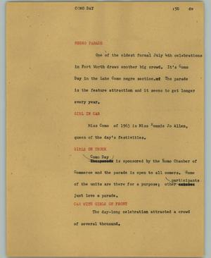 Primary view of object titled '[News Script: Como Day]'.