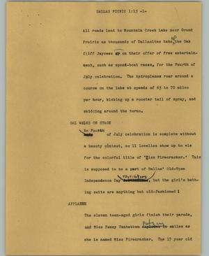 Primary view of object titled '[News Script: Dallas picnic]'.