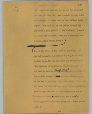 Primary view of object titled '[News Script: Beach party]'.
