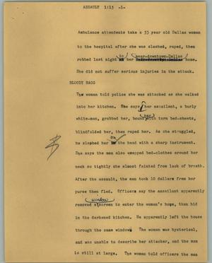 Primary view of object titled '[News Script: Assault]'.