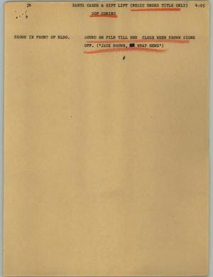 Primary view of object titled '[News Script: Santa cards & gift lift]'.