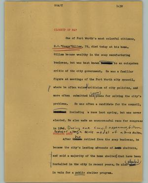 Primary view of object titled '[News Script: Soapy]'.