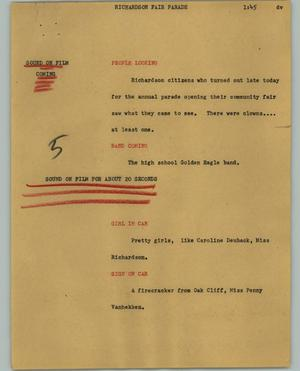 Primary view of object titled '[News Script: Richardson fair parade]'.