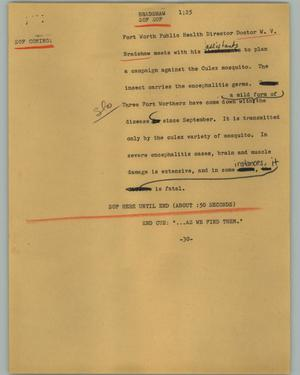 Primary view of object titled '[News Script: Bradshaw]'.