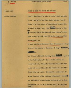 Primary view of object titled '[News Script: State queens (Miss Texas)]'.