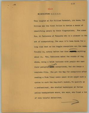 Primary view of object titled '[News Script: Noseprinting]'.