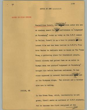 Primary view of object titled '[News Script: Actor at SMU]'.