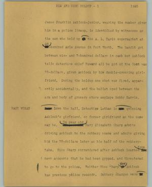 Primary view of object titled '[News Script: His and hers holdup]'.