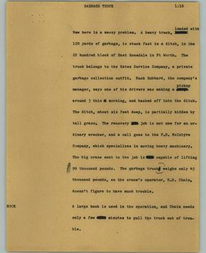 Primary view of object titled '[News Script: Garbage truck]'.