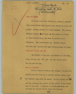 Primary view of object titled '[News Script: Fatal accident]'.