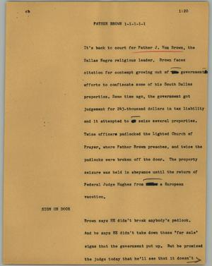 Primary view of object titled '[News Script: Father Brown]'.