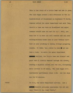 Primary view of object titled '[News Script: Main break]'.