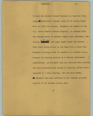 Primary view of object titled '[News Script: Braswell]'.